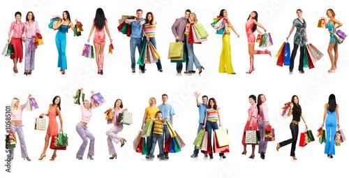 Leinwanddruck Bild Shopping people