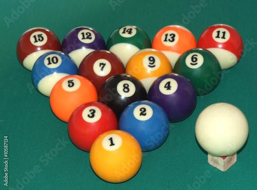 Staande foto billiard balls triangle