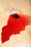 wine spill on hardwood floor poster