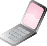 Clamshell mobile cellphone, isometric style illustration poster