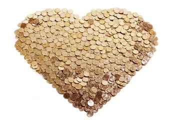 Gold coins heart