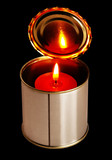 candle on a tin can