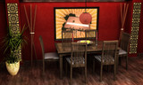 An interior Visualization of an Asian themed dining room. poster