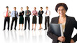 Isolated successful business team, focus on woman