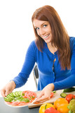 Young woman with vegetarian salad, isolated poster