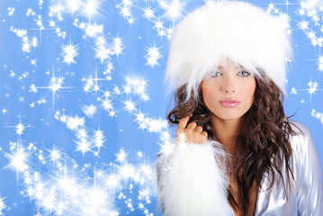 Winter girl wearing white hat