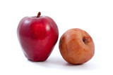 Fresh red and brown rotten apples poster