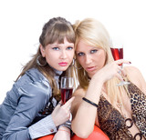 two blond girls are certify red wine poster