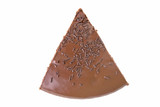 Top view of a slice of chocolate fudge cake with sprinkles poster