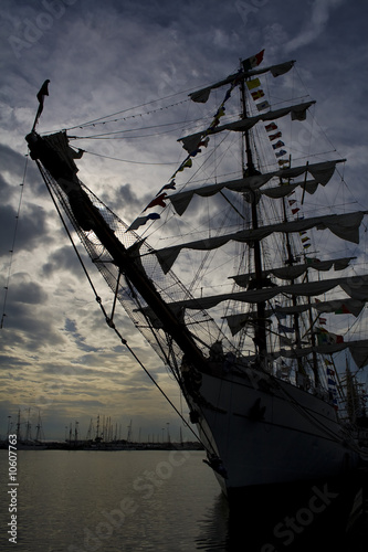 Tallship in dock on sunset