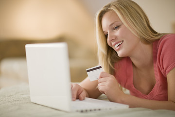 Happy woman Shopping Online.Happy woman shopping online