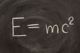 Albert Einstein E=mc2 physical formula on blackboard poster