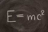 Albert Einstein E=mc2 physical formula on blackboard poster