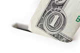 Closeup of one dollar bill going into piggy bank, isolated on wh poster