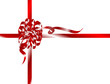 Red christmas ribbon - vector illustration