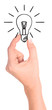 Hand holding drawn light bulb
