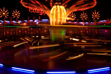 Night view at the carousel in motion