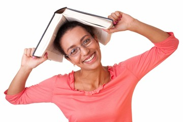 student with thick book