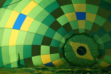 An internal view from a hot air balloon being inflated