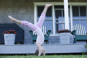 Girl doing Gymnastics.
