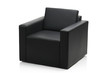 Image of a modern black leather armchair isolated on white