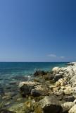 Adriatic sea beach with barb wire, island Pag, Croatia poster