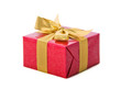 Red gift with gold ribbon on white background