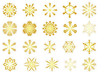 gold snowflakes - vector