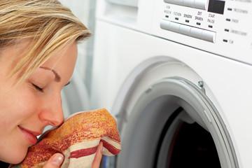 smelling fresh laundry