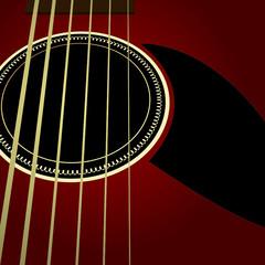 Dark acoustic guitar close up
