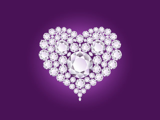 Diamond heart on purple background