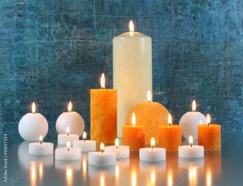 Leinwandbild Motiv Arrangement mit Kerzen