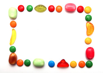 Frame made of colorful candies