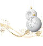 Fototapety White Christmas bulbs with golden snowflakes on white background