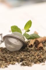 fresh tea leaves close-up