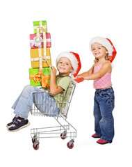 Happy kids with presents