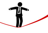 Symbol business man walks on danger risk tightrope poster