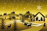 Fototapety Golden Nativity on a mountain #2