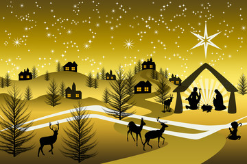 Golden Nativity on a mountain #2