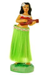 Dashboard Hula wiggler doll isolated on white
