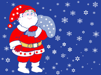 Santa Claus isolated on blue background.