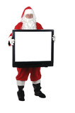 Pleasant man in Santa suit isolated on white poster