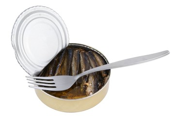Opened fish can with fork