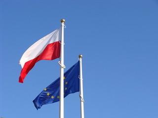 Polish and European Union flags.