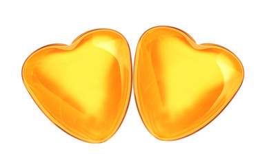 a pair of golden hearts