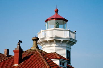 Lighthouse lamp room with white painted balustrade