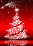 Christmas Tree with stars on red background