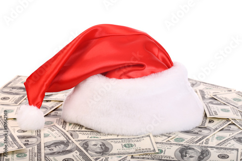 Santa Claus hat on dollar.