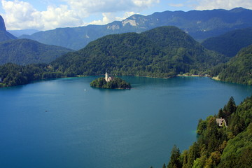 View from the top at lake Bled, Slovenia