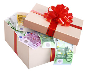 Gift box with banknote of euro.